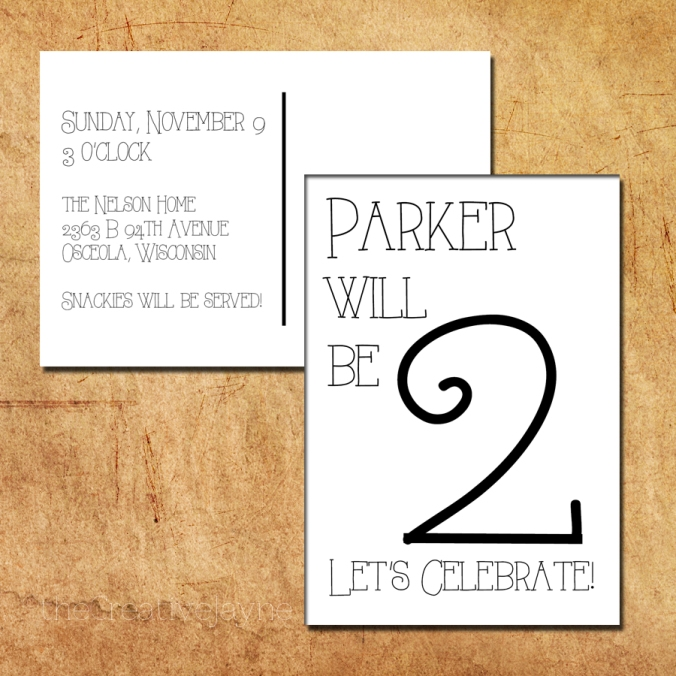 the Creative Jayne _ Workin Mom at Home _ Parker's Party Invite