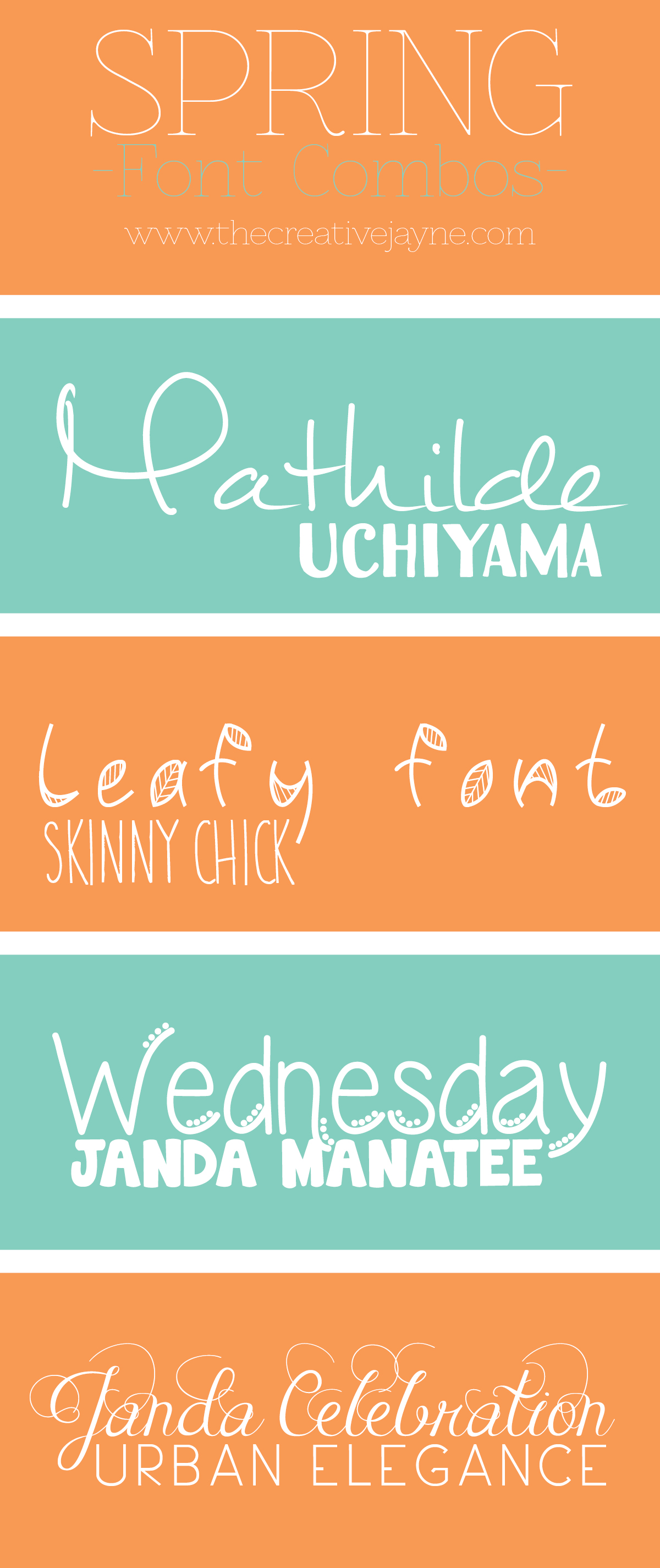 the Creative Jayne Spring font Combos