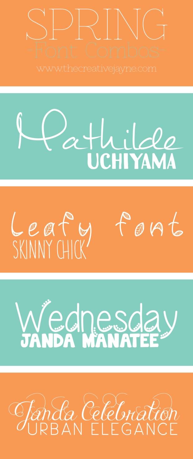 the Creative Jayne Spring font Combos