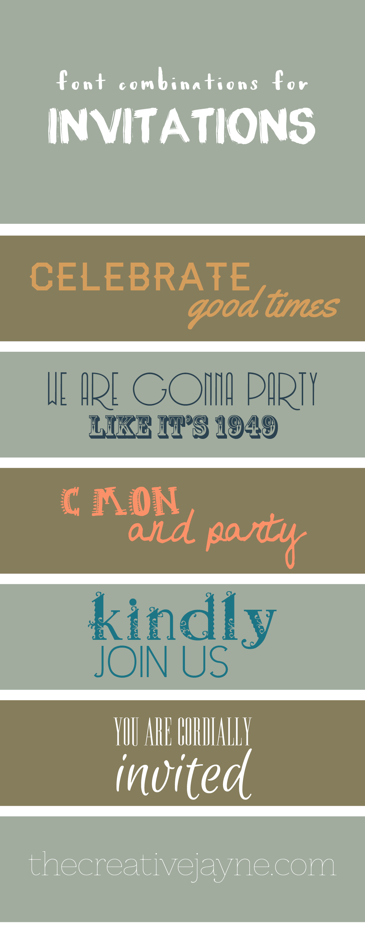 invitation font combinations by the creative jayne