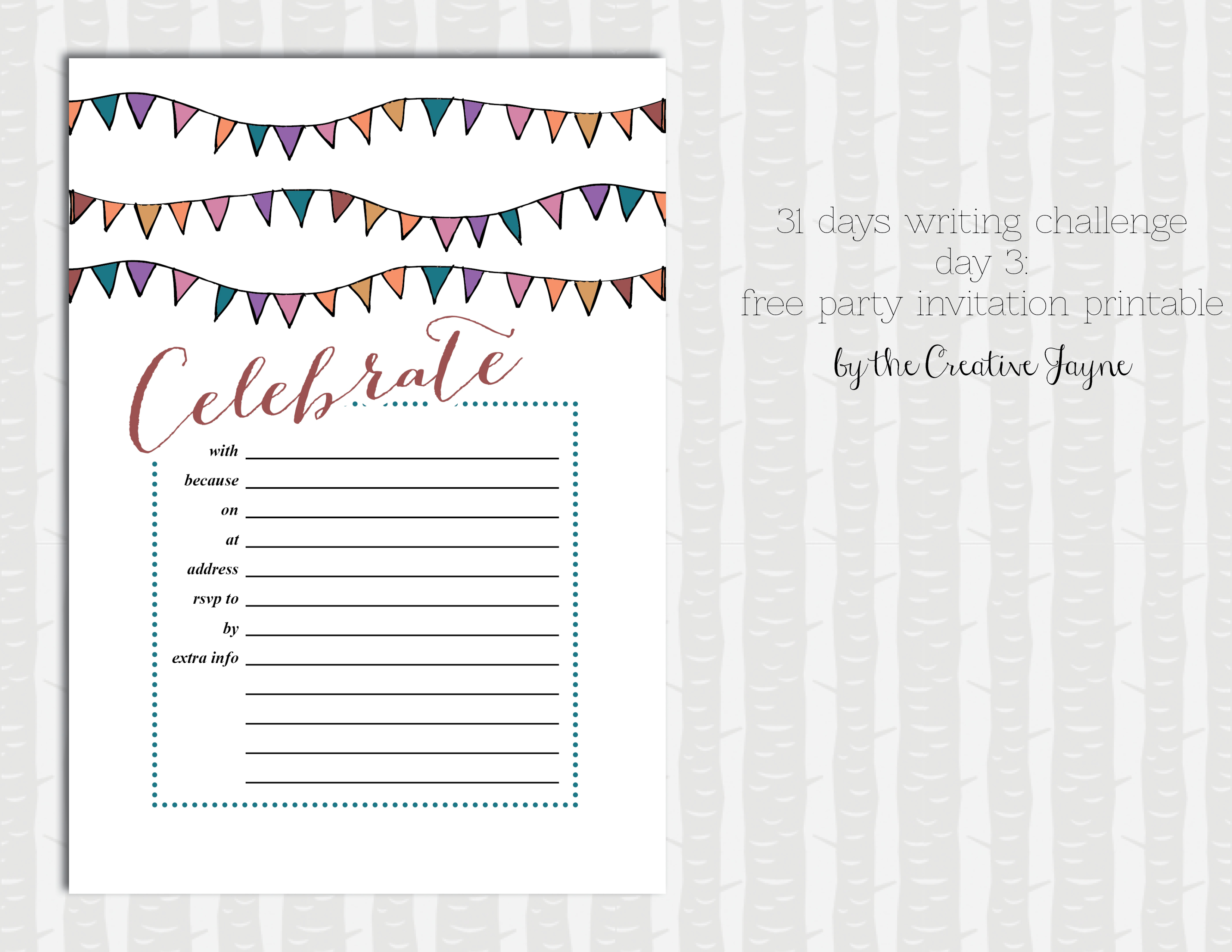 party invitation printable by the creative jayne