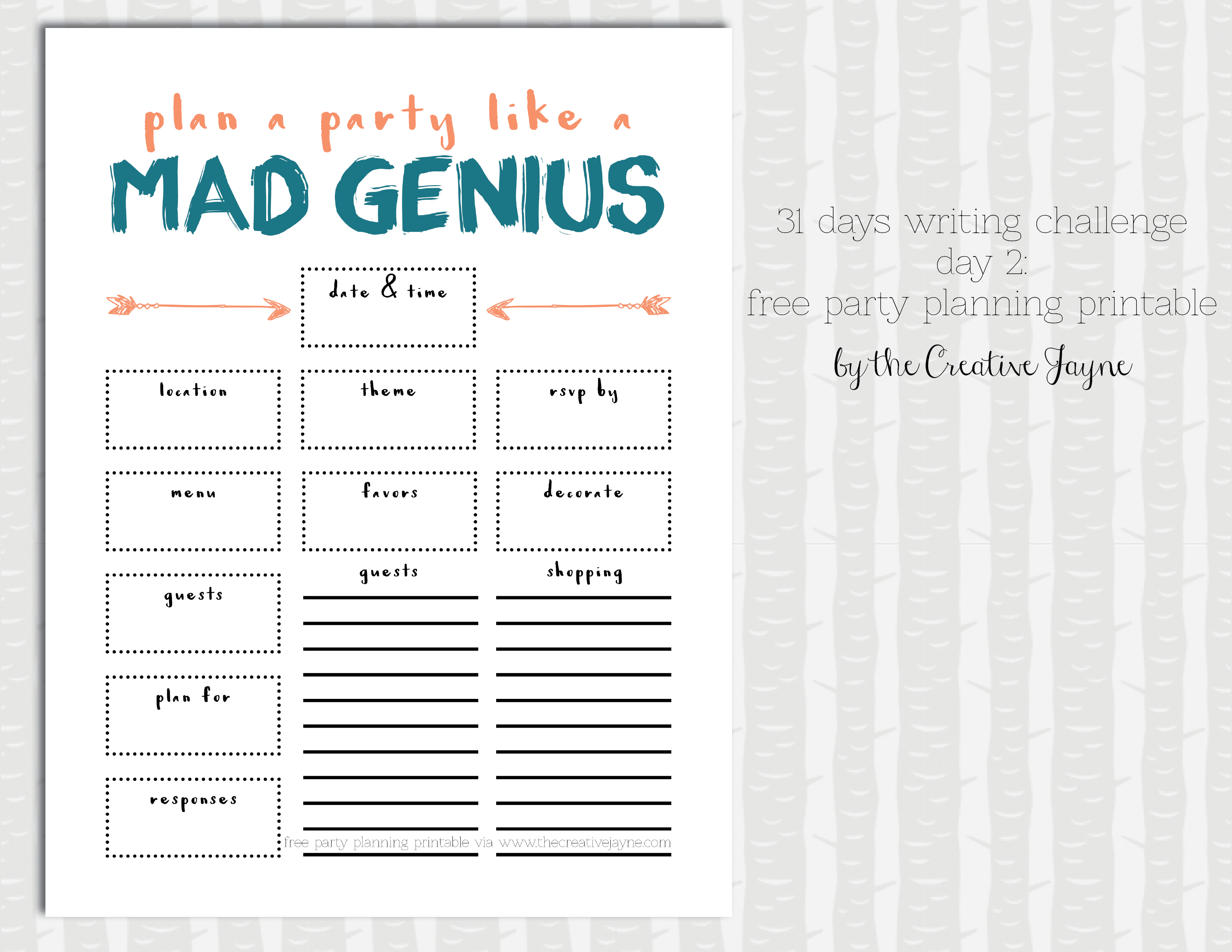 party planning printable by the creative jayne