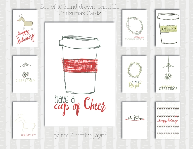 set of 10 christmas cards by the creative jayne