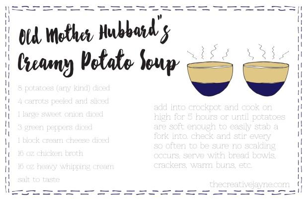 old mother hubbards creamy potato soup on the creative jayne