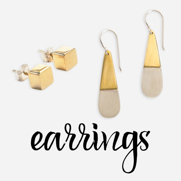 gold cubed studs & metallic teardrop earrings by noonday collection
